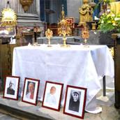 Reliques de sainte Faustine et Bhx Michel Sopocko, et des papes Jean XXIII et Jean-Paul II