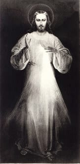Premier tableau du Christ Miséricordieux peint en 1934 par Eugène Kazimiroswkien présence de sainte Faustine et avec ses indications