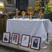Reliques des saint Jean-Paul II, saint Jean XXIII, sainte Faustine, bienheureux Michel Sopocko