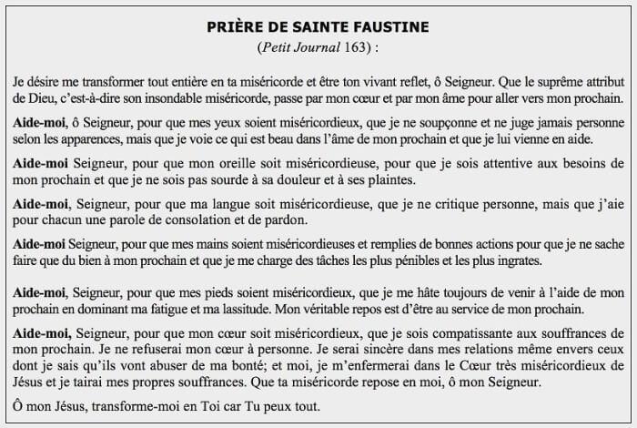 Prière de Sainte Faustine - Petit Journal 163