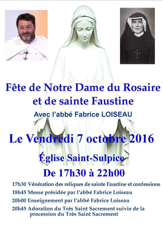 Fête de Notre Dame du Rosaire et de Sainte Faustine 2016