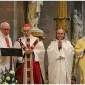 Le Cardinal Backis, le Père Jean-Loup Lacroix et le Père Guy Gilbert
